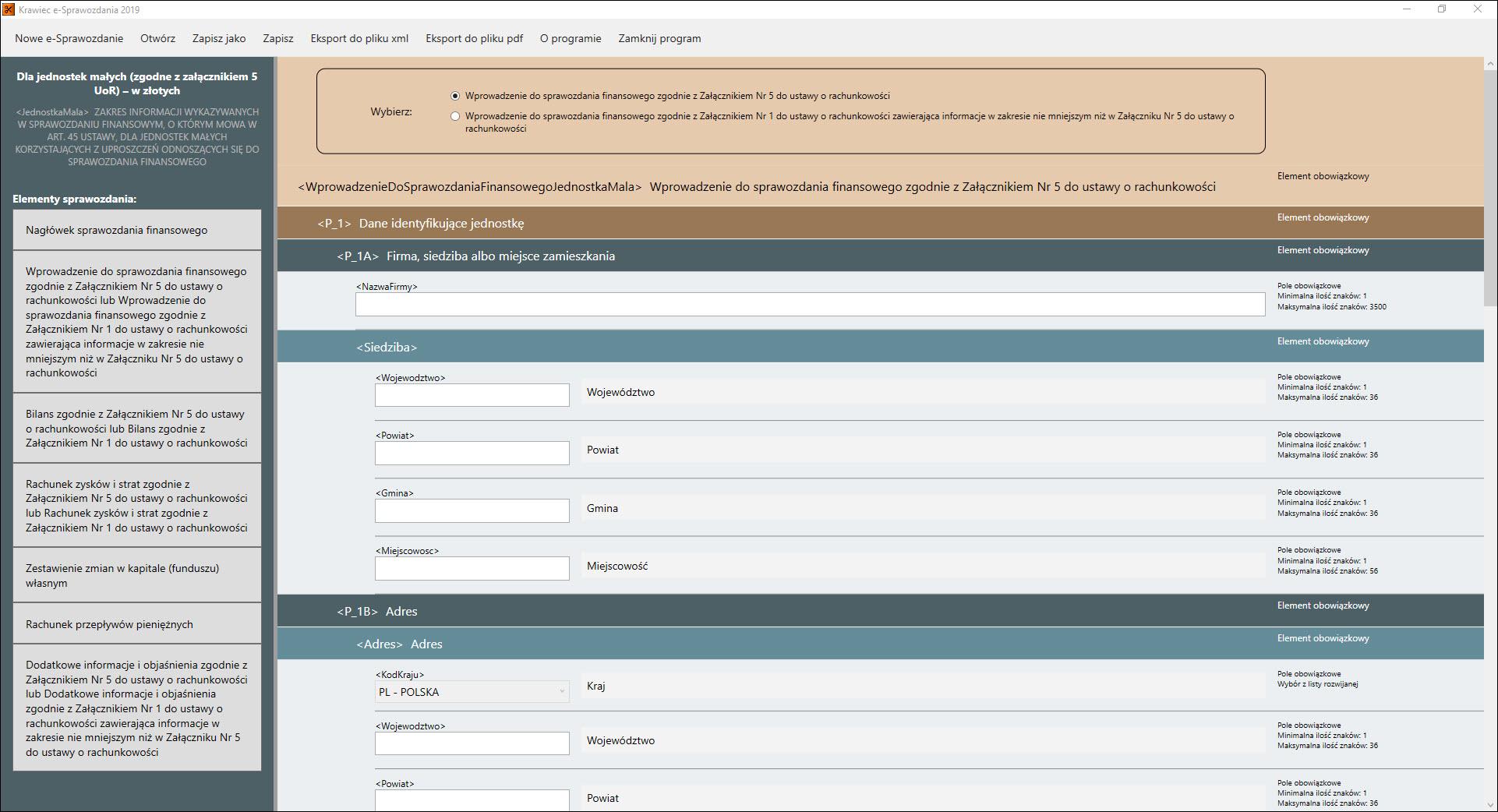 Okna robocze programu do e sprawozdania finansowego