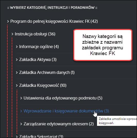 Lista kategorii instrukcji obsługi programu księgowego