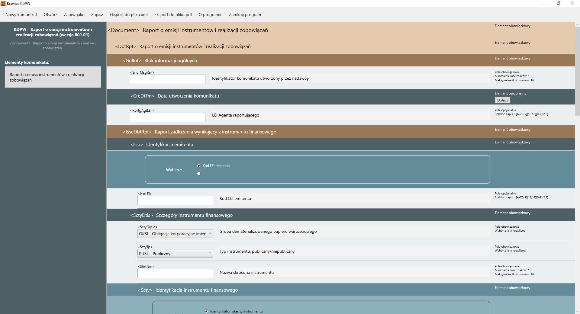Okna robocze programu do obsługi papierów wartościowych Krawiec KDPW
