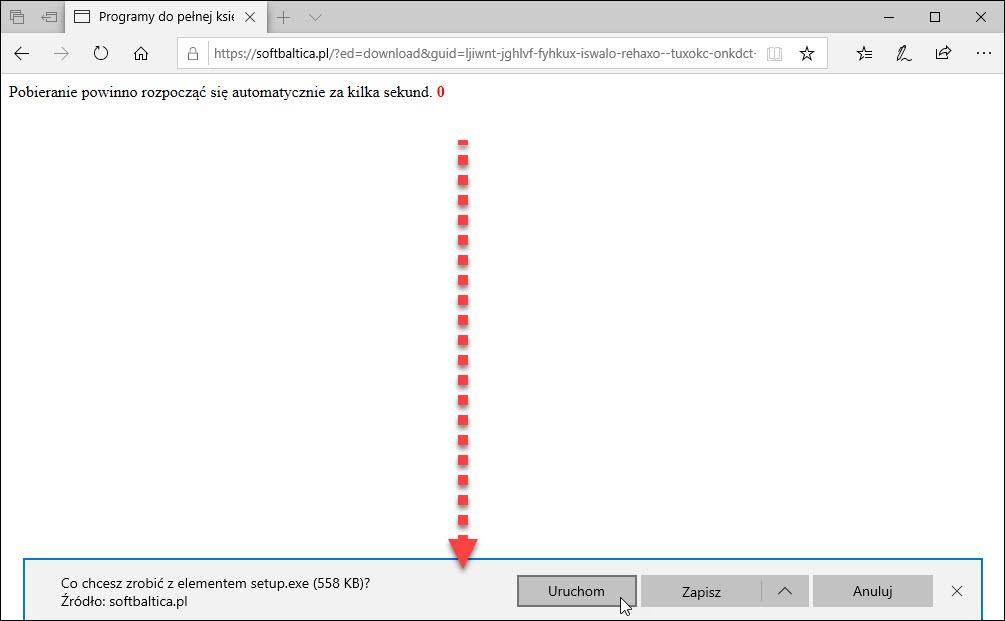 Pobieranie pliku instalacyjnego programu do księgowości w przeglądarce Edge