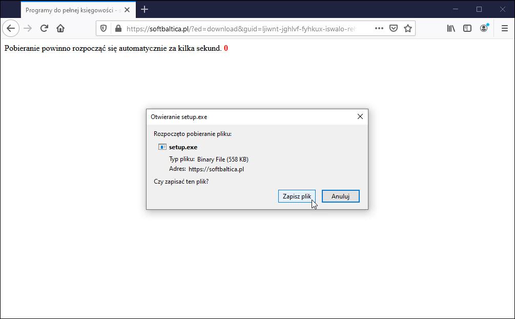 Pobieranie pliku instalacji programu księgowego przeglądarka Firefox