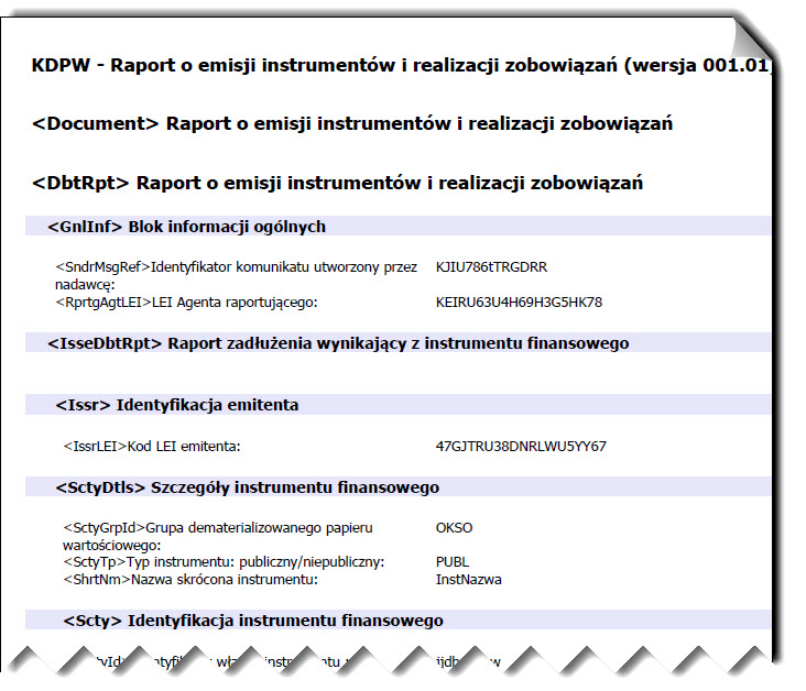 Wygląd dokumentu pdf komunikatu KDPW
