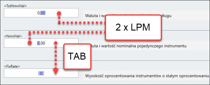 Klawisze TAB za pomocą których następuje przejście do kolejnego pola komunikatu kdpw