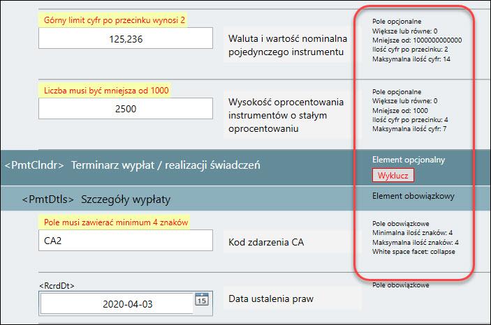 Restrykcje nałożone na pola komunikatu KDPW