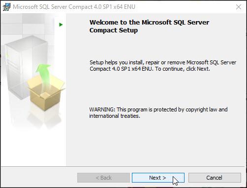 Okno rozpoczynające instalację bazy danych